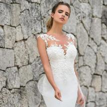 Elegant illusion Lace Appliques Custom Made Mermaid Wedding Dress Wedding Gown image 3
