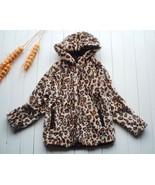 NEW Roxy Girl Faux Fur Leopard Hoodie Coat Jack... - £23.35 GBP