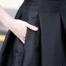Women BLACK A-Line Ruffle Skirt Lady Taffeta High Waist Midi Pleated Party Skirt image 8