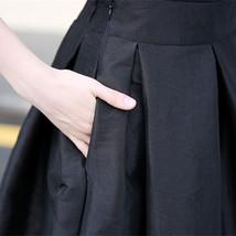 Women BLACK A-Line Ruffle Skirt Lady Taffeta High Waist Midi Pleated Party Skirt image 8
