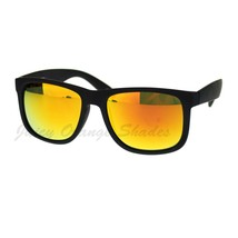Unisex Sunglasses Black Matted Square Frame Multicolor Lens - $7.15