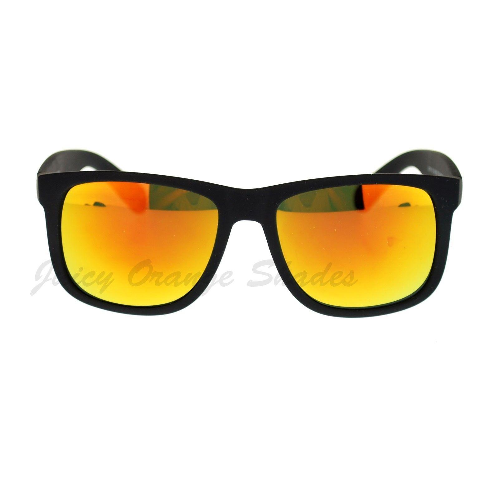 Unisex Sunglasses Black Matted Square Frame Multicolor Lens