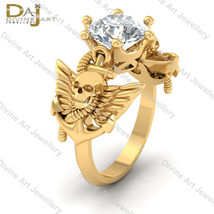 Anchor Pirates Skull Gothic Engagement Ring Womens Angel Wings Skull Rin... - £858.42 GBP