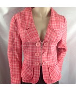 Designer Christopher Graf Pink Plaid Ladies Lined Jacket Zipper Button A... - $84.15