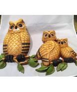 Vtg MCM 1975 2 Horned OWL Family Mom Dad Baby Wall Hanging Homco Dart In... - $48.51