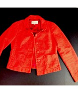 Cotton Tweed Orange Banana Republic Jacket Autumn Fall Covered Buttons 2 - $38.61