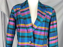 Medium Regina Porter Raw Silk Jewel Tone Vertical Stripe Ladies Jacket Blazer - $34.65