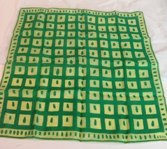 """Vtg 1950s Vera Neumann Silk Spring Lime Green Mod Squares Dot Border 16""""... - $34.16"""