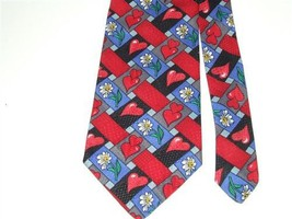 Valentine Hearts Daisy Basket Weave Hallmark Novelties MMG Red Blue Necktie - $29.21