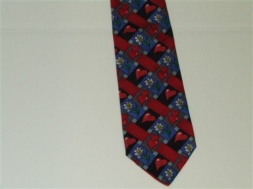 Valentine Hearts Daisy Basket Weave Hallmark Novelties MMG Red Blue Necktie