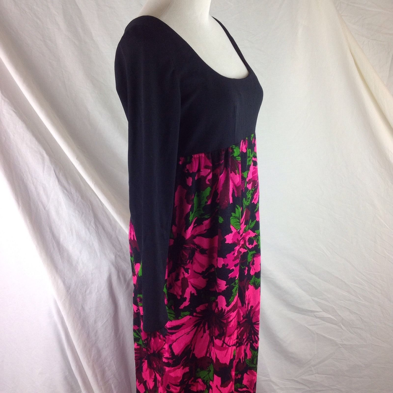 Vtg Homesewn 60s Barkcloth Boho Aloha Tall Empire Maxi LS Dress Rayon Sequined S