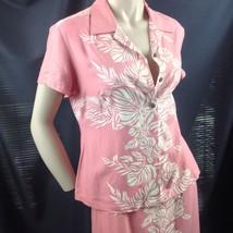 Hilo Hattie Pink Silk Taro Leaf Panel Hawaiian Maxi Dress 2 Pc Top Slit ... - $48.51