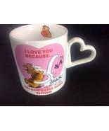 Garfield Valentine Love Mug Cup Heart Handle <3 Because You Don't Like D... - $14.36