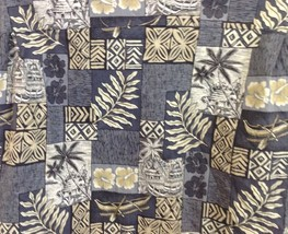 HILO HATTIE Outrigger Hut Hibiscus Tapa Patchwork Print Hawaiian Aloha S... - $32.18