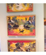 Orig Signed 1950s Eames Era Trilogy IMPASTO Oil Paintings THAILAND Street Art - $378.68
