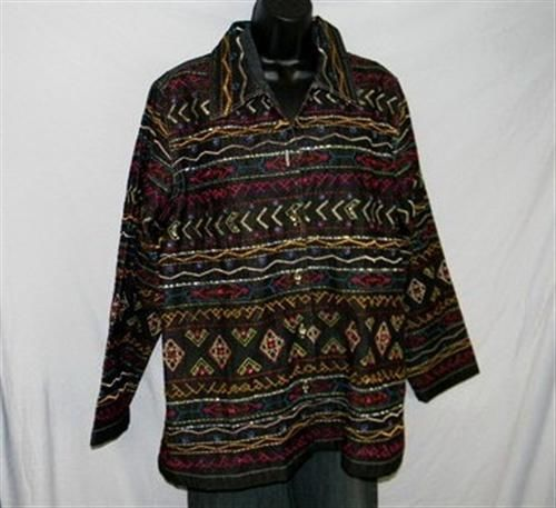 BOHO Gypsy Tribal Embroidered Denim Jeans Jacket 1X Jewel Buttons UNITS WOMAN image 2