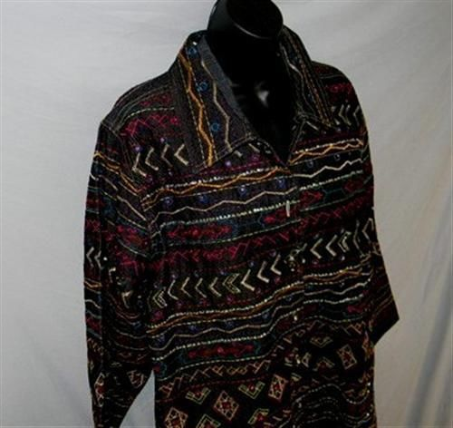 BOHO Gypsy Tribal Embroidered Denim Jeans Jacket 1X Jewel Buttons UNITS WOMAN image 3