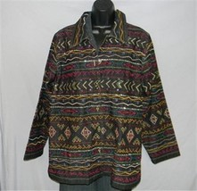 BOHO Gypsy Tribal Embroidered Denim Jeans Jacket 1X Jewel Buttons UNITS WOMAN image 4