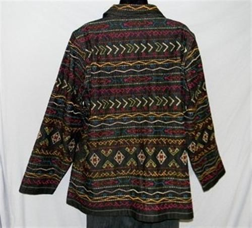 BOHO Gypsy Tribal Embroidered Denim Jeans Jacket 1X Jewel Buttons UNITS WOMAN image 6
