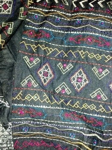 BOHO Gypsy Tribal Embroidered Denim Jeans Jacket 1X Jewel Buttons UNITS WOMAN image 7
