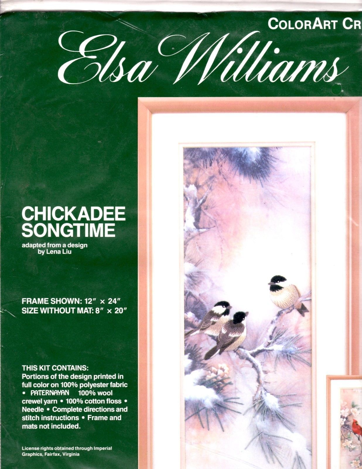 Elsa Williams ColorArt Crewel Chickadee Songtime Needlepoint Kit USA 8x20 - $49.01