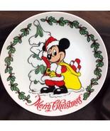 Disneyland Resort Santa Mickey Mouse Plate Merry Christmas Tree Holly 8-... - $24.26