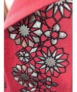 Semantiks Embroidered Floral Panel Jacket Cayenne Red Grey Viscose Linen... - $88.61