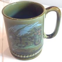Vtg Mid Century Irish Jaunting Car Mug Horse Carriage Olive Blue Glaze I... - $29.21