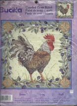 """Bucilla Counted Cross Stitch Rooster Nancy Rossi 2001 12"""" 42978 French Spanish - $49.01"""