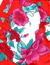 1960s Berkshire Satin Morning Glory Vine Scarve Italy Fuschia Red Teal W... - $24.26