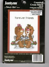 Janlynn Cross Stitch Forever Friends Suzys Zoo Bears having Tea 1985 #38-99 5x7 - $12.38