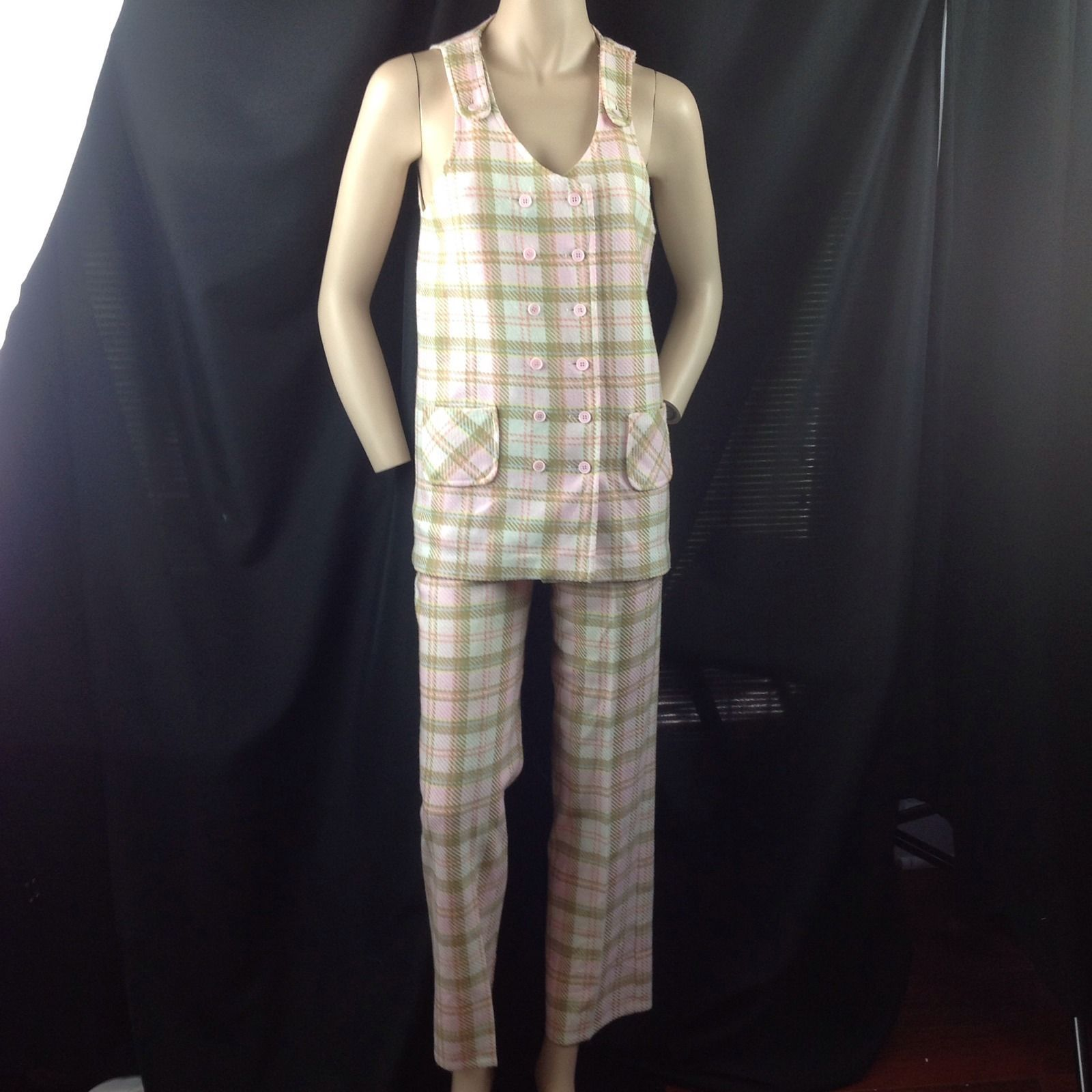 Vtg Miss Holley Pink Plaid 2 Pc Pants Suit Tunic Vest Double Breasted Jumper 4/6