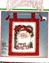 Bucilla Santas Portrait Cross Stitch Christmas Kit 13x18 Wall Hanging Open Comp - $29.21