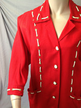 Vtg 1980s Nautical Sailor Red & White Rope Laced Shoulder Pad Button Fro... - $49.01