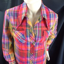 Vtg Madras Plaid Button Front Maxi Dress Wide Collar Beach Coverup Hampt... - $58.41