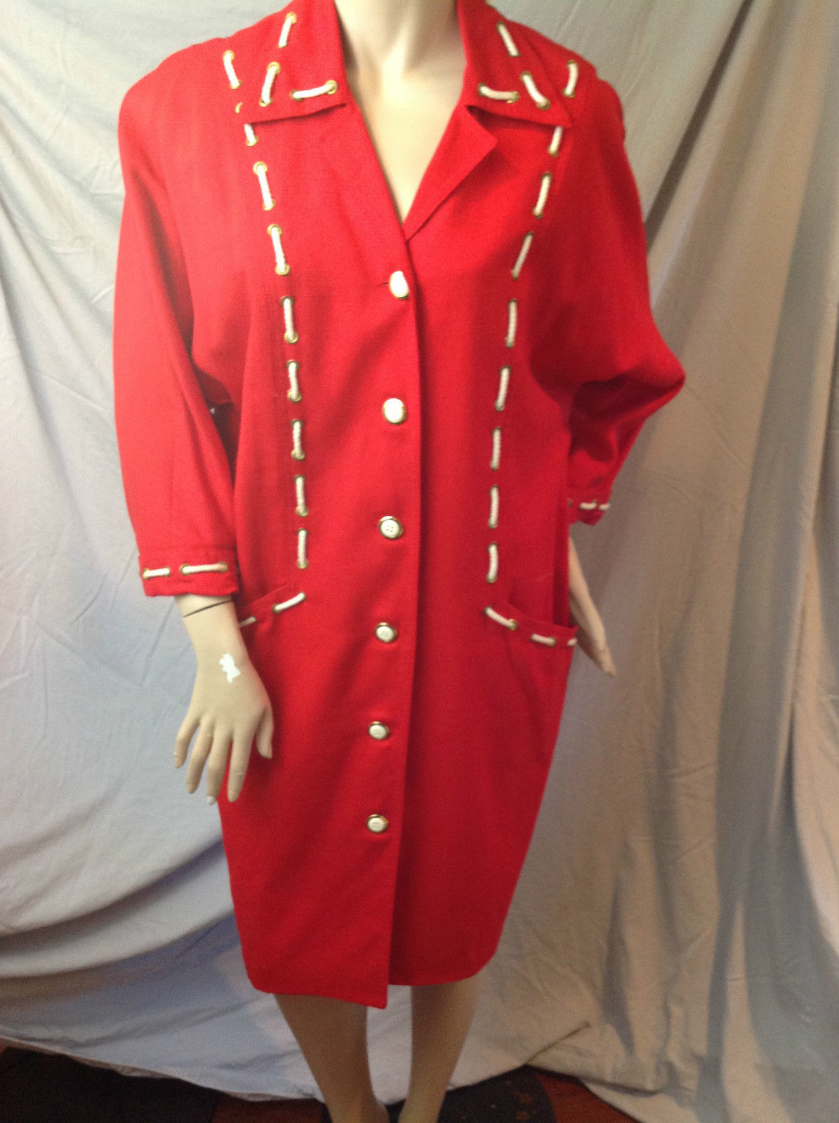Vtg 1980s Nautical Sailor Red & White Rope Laced Shoulder Pad Button Front Dress