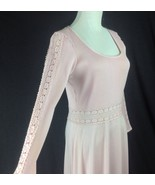 S Vtg Pink Crochet Peekaboo Waist Kiana Polyester Maxi Dress ILGWU Aliso... - $64.35