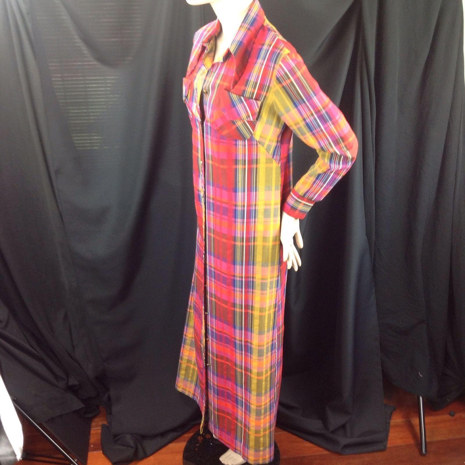Vtg Madras Plaid Button Front Maxi Dress Wide Collar Beach Coverup Hamptons Med