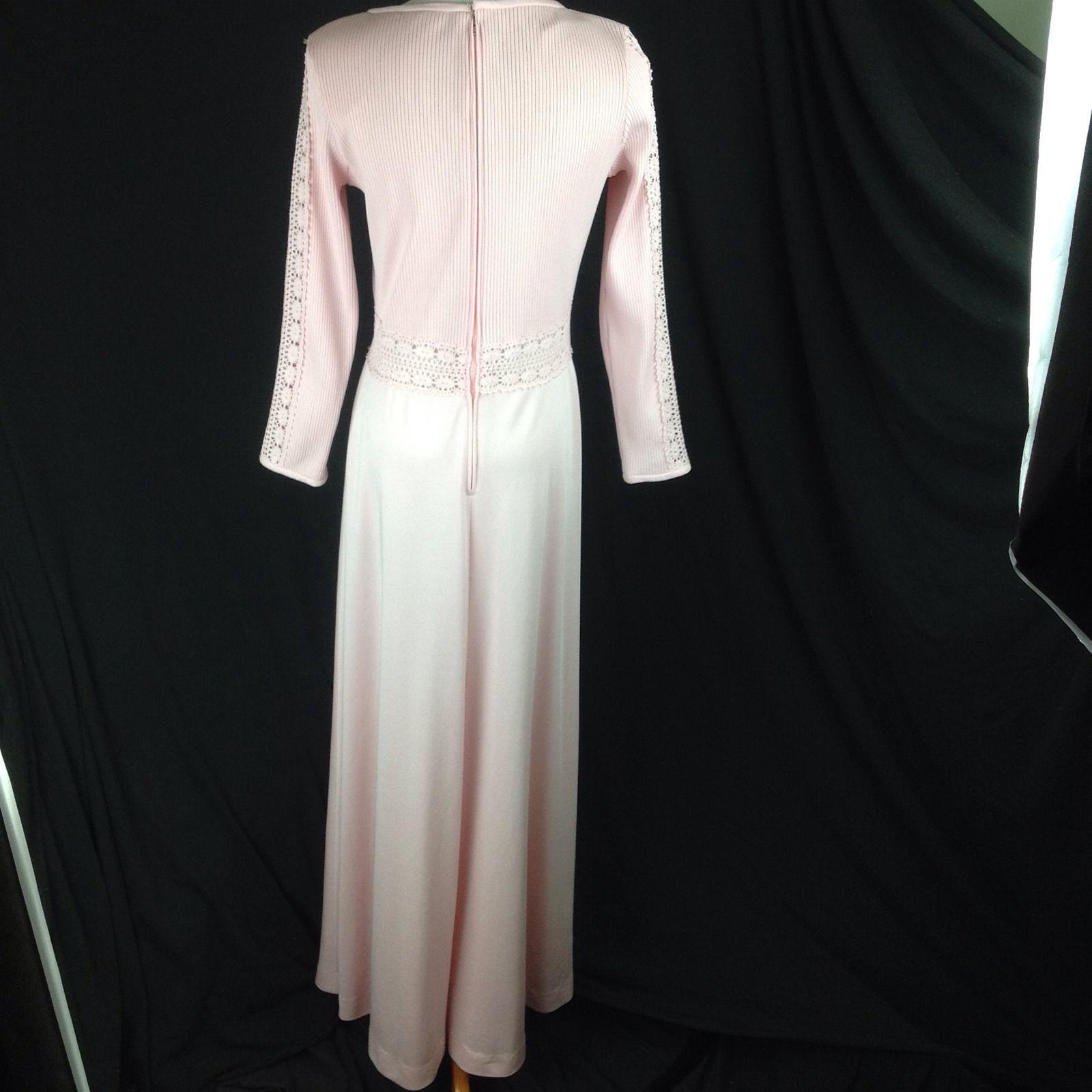 S Vtg Pink Crochet Peekaboo Waist Kiana Polyester Maxi Dress ILGWU Alison Ayres
