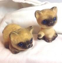 Vtg Josef Orig Siamese Kittens Fuzzy Flocked Blue Eyes Cat Cute Adorable... - $29.21
