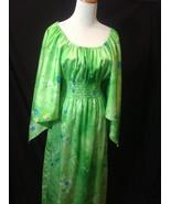 70s Waltah Clarkes Green Hawaiian Maxi Dress Hippie Smock Handkerchief S... - $84.15
