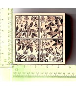 "Magenta Rubber Stamp Botanical Floral Flower Flora Tiles Drawing XL Canada 4.5"" - $19.31"