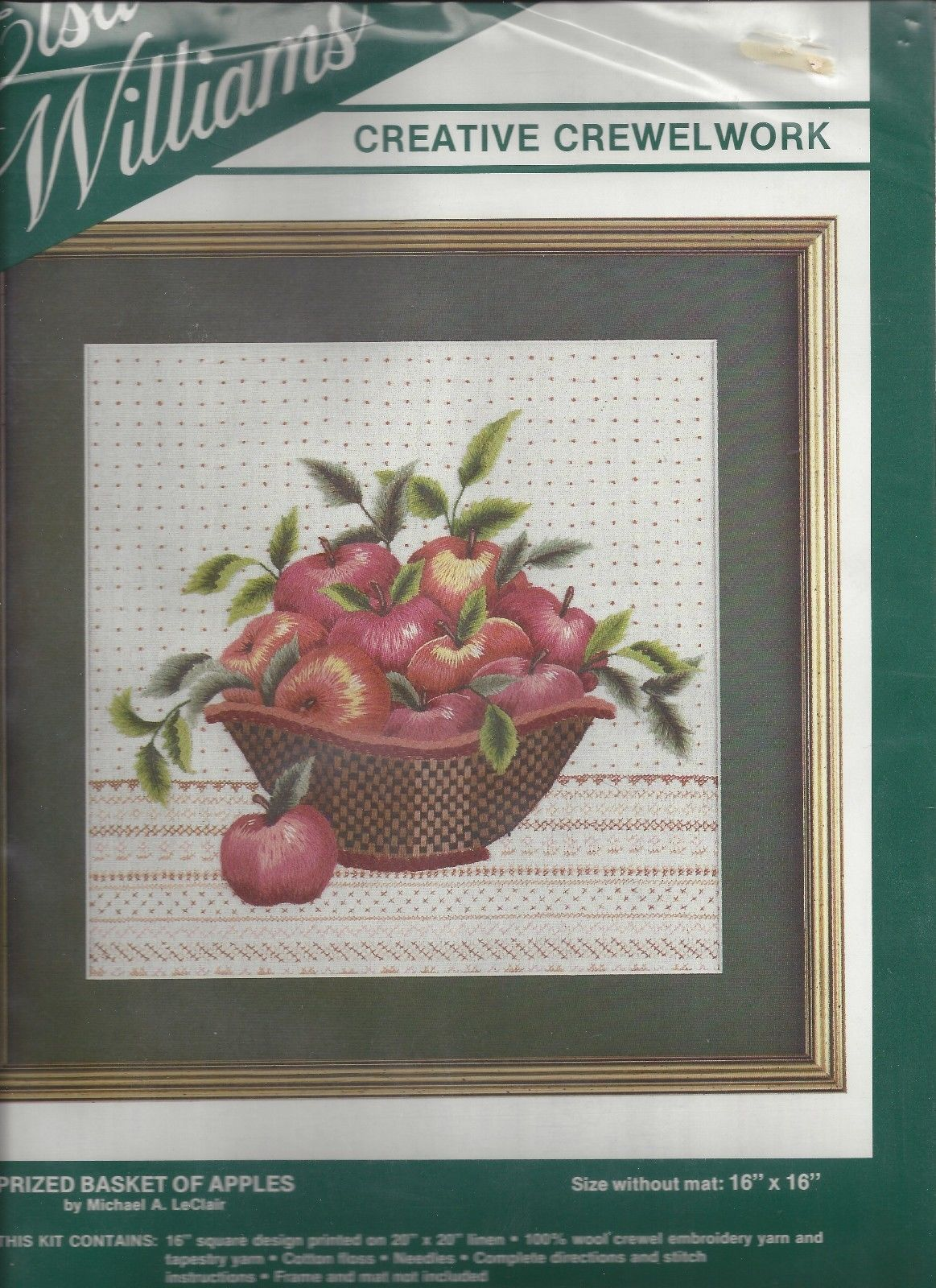 "Elsa Williams Prized Basket of Apples Crewel Kit Michael LeClair 00298 USA 16"" - $68.31"