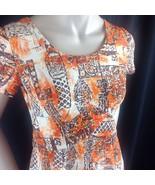 Hawaii Nei Hawaiian Aloha Maxi Dress Native Tapa Block Print Orange Brow... - $54.45