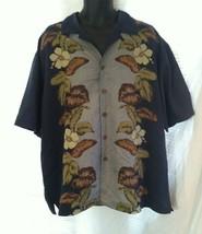 Joe Marlin Vertical Hibiscus Lei Panel Hawaiian Mens XL Shirt Coconut Bu... - $29.21