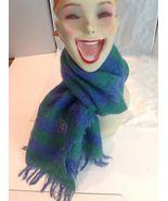 Vtg Vera Neumann Mohair Wool Mod Wide Stripe Fringe Blue Green Woolen Kn... - $39.11