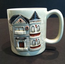 1980 OTAGIRI Gingerbread Victorian Mug Cup Raised Relief Etched House 10 Oz - $19.31
