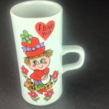 Mid Century Smug Mugs I Love You Arnart Japan Tall Mug Flower Power - $29.21