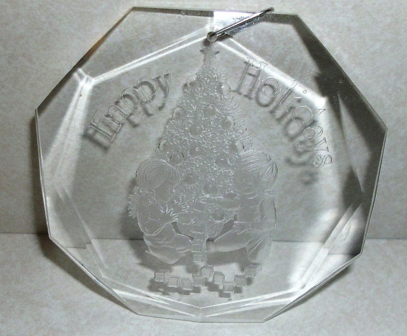 Primary image for 1980 Happy Holidays Amsun Clear Plastic Ornament Boy & Girl Christmas Tree