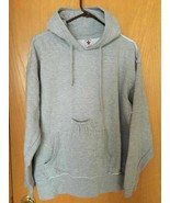Brew City Gray Fleece Long Sleeve Beer Bottle Pouch Hooded Sweatshirt Me... - $21.15